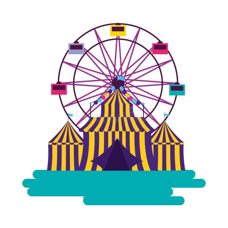 Noria de la tienda del carnaval stock de ilustración