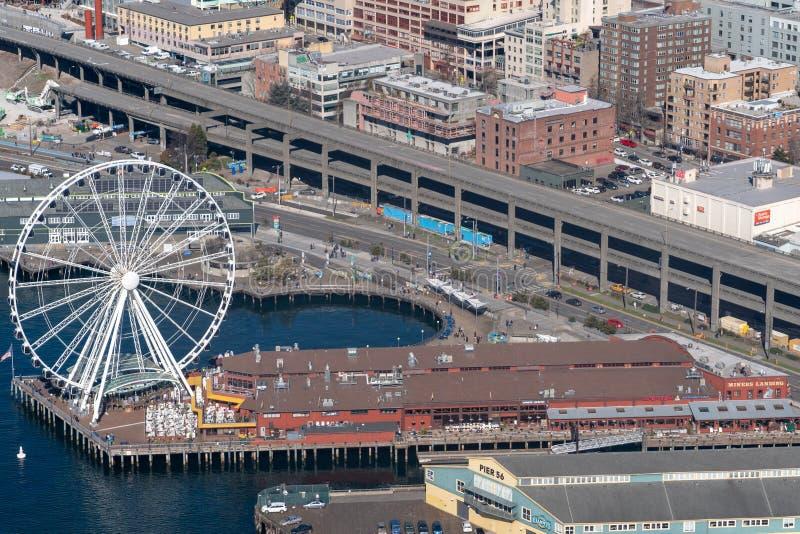 Noria de Seattle del aire fotografía de archivo