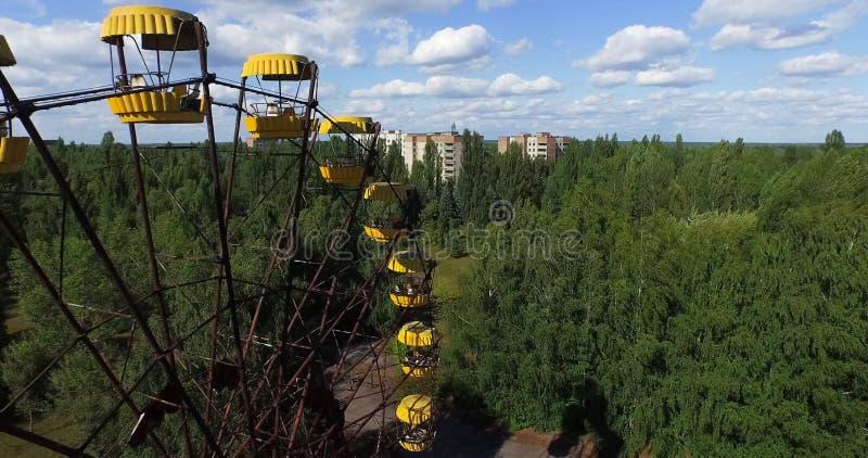 Noria - el símbolo de la zona de exclusión Pripyat, Chernóbil foto de archivo