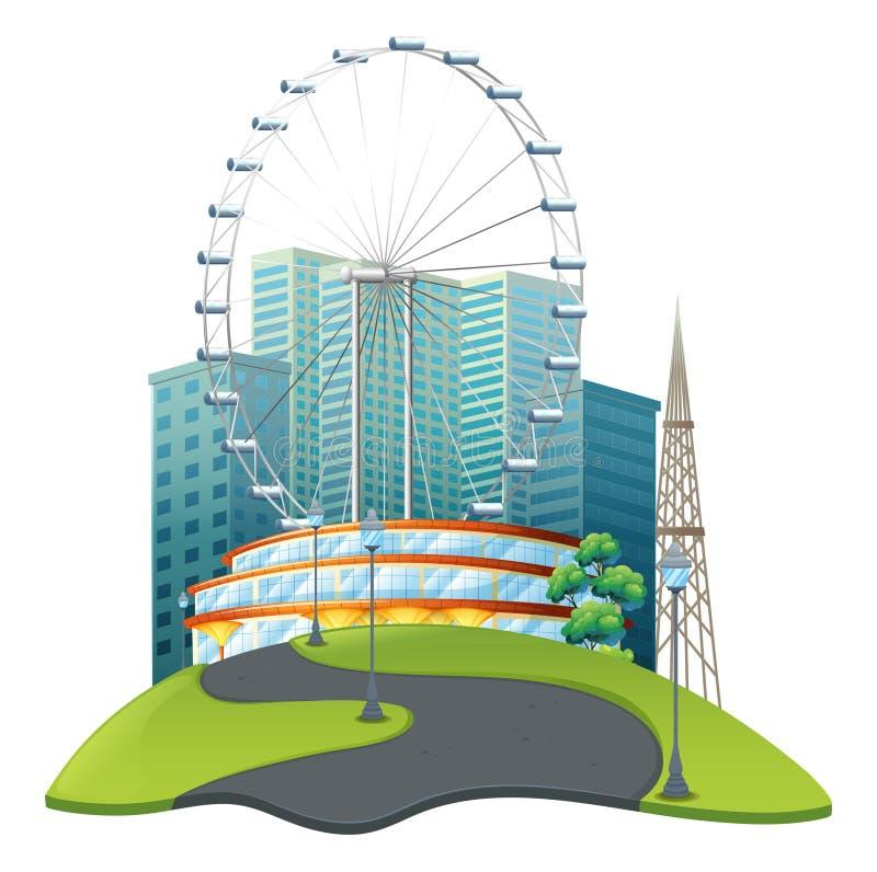 Noria grande en parque grande ilustración del vector