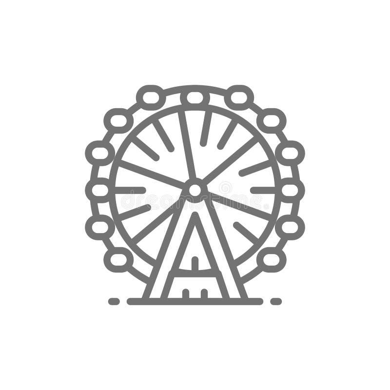 Noria, línea icono del ojo de Londres stock de ilustración