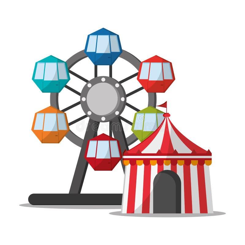 Noria y tienda del diseño del carnaval stock de ilustración