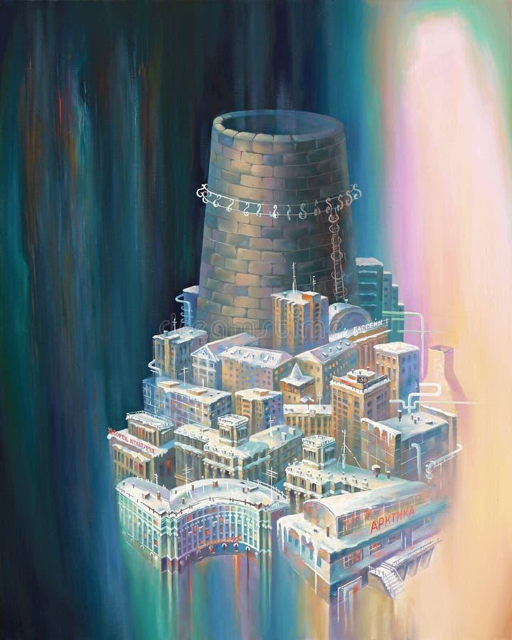 Norilsk is een stad van trompet Auteur: Nikolay Sivenkov vector illustratie