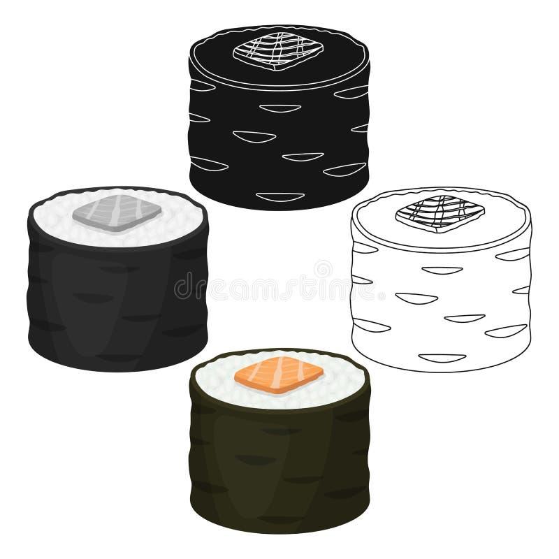Norimaki icon in cartoon style isolated on white background. Sushi symbol stock vector illustration. Norimaki icon in cartoon style isolated on white background vector illustration