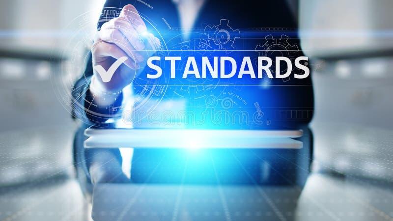 norm Concept over witte achtergrond De certificatie, de verzekering en de waarborg van ISO Internet-bedrijfstechnologieconcept stock foto