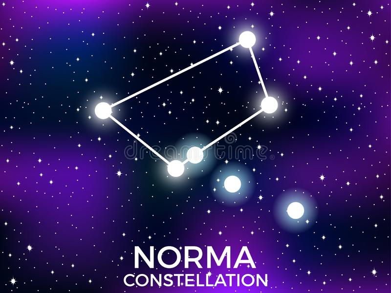 Norma constellation. Starry night sky. Cluster of stars and galaxies. Deep space. Vector. Illustration vector illustration