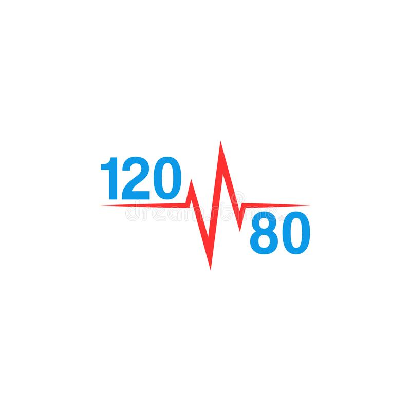 Normal blood pressure 120 to 80 logo and pulse line, hypotension or hypertension medical icon royalty free illustration