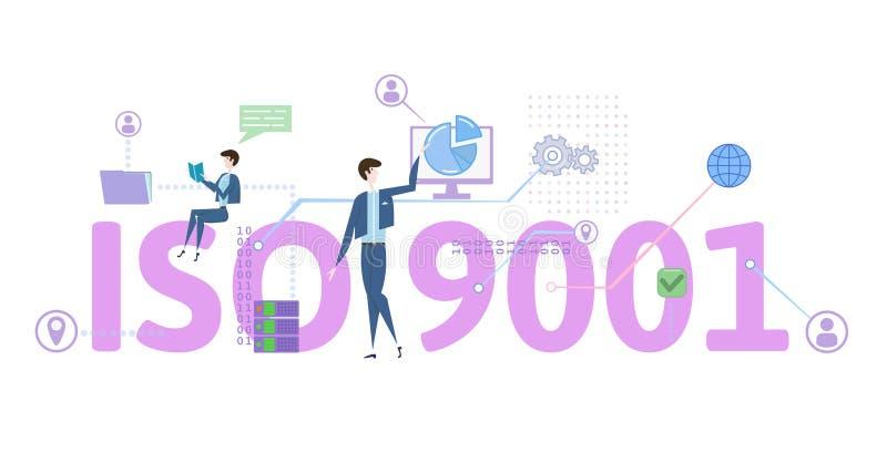 Normal för ISO 9001 Begreppstabell med folk, bokstäver och symboler Kulör plan vektorillustration på vit bakgrund royaltyfri illustrationer