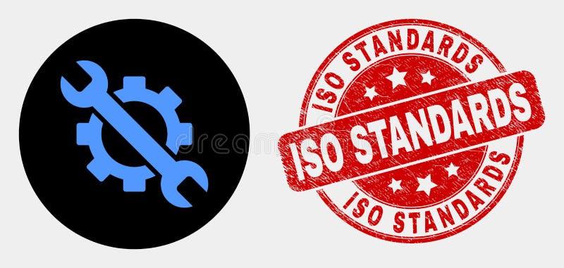 Normal för ISO för för den vektoralternativTols symbolen och Grunge stämplar skyddsremsan stock illustrationer