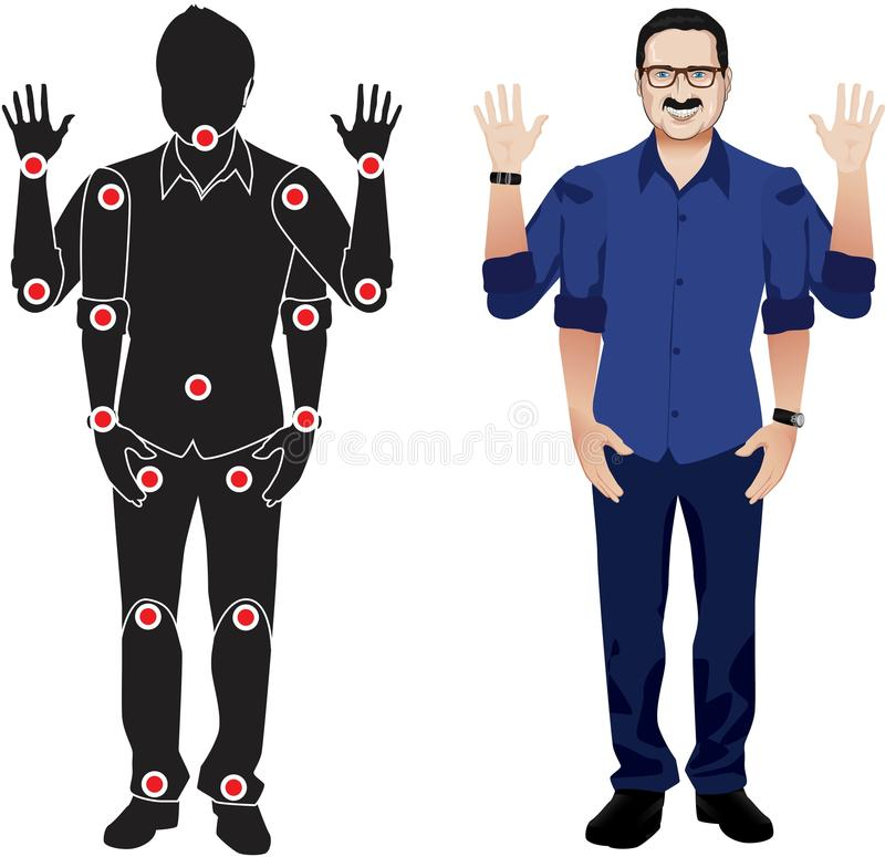 Normal man cartoon character in separate joints. Gestures. FOR ANIMATION. man character in green shirt, doll with separate joints. Gestures for animated work royalty free illustration
