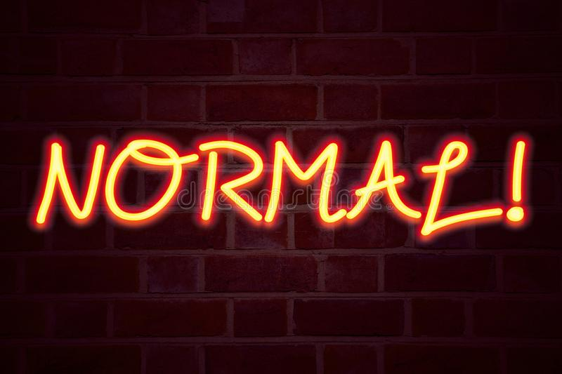 Normal neon sign on brick wall background. Fluorescent Neon tube Sign on brickwork Business concept for Confidence Abnormal Normal. Ity Problem Issue 3D rendered royalty free stock images