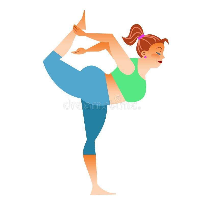 Normal uma mulher gorda pequena que faz a ioga ilustração do vetor