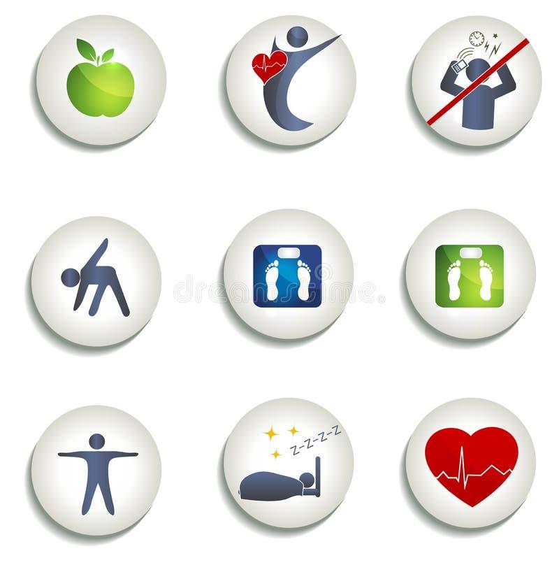 Normal vikt, sunda äta och andra symboler royaltyfri illustrationer