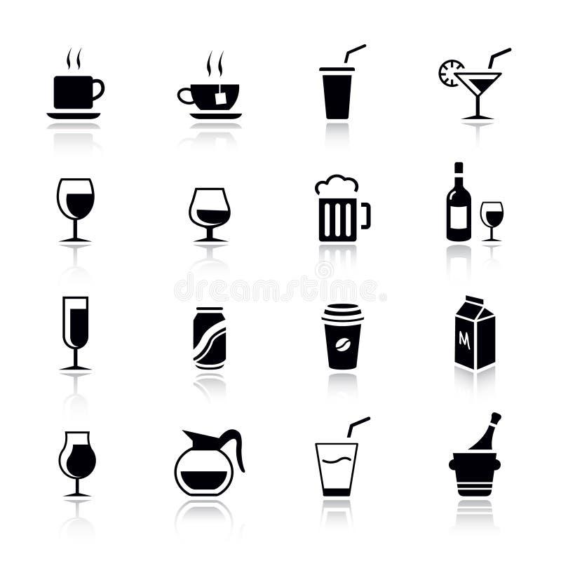normala drinksymboler royaltyfri illustrationer