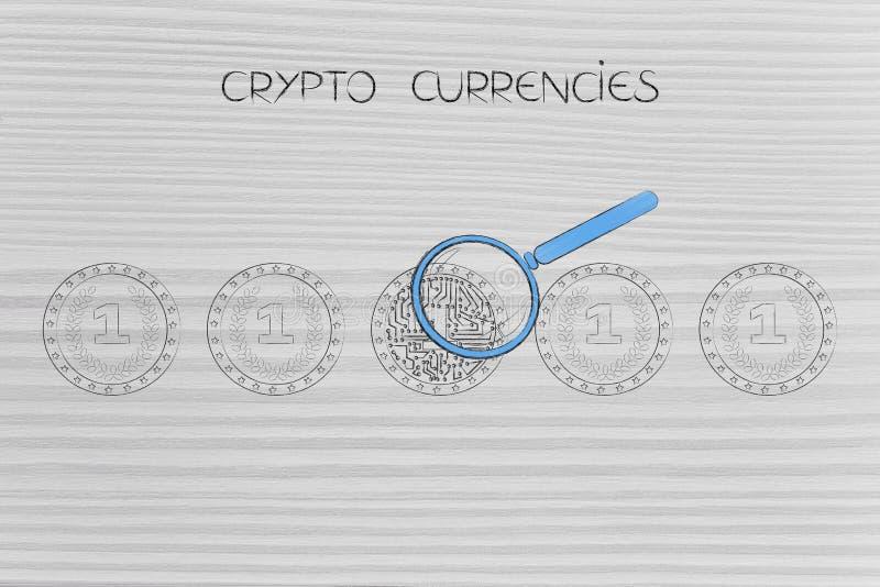 Normale muntstukken en met digitale kringen op het, cryptocurrency royalty-vrije illustratie