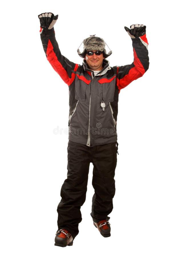 Normaler Mann in einer lustigen Winterhut- und -skijacke stockfoto