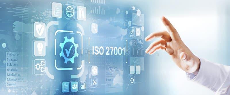 Normalización de calidad standard de la garantía de la certificación de la ISO 27001 Concepto de la tecnolog?a del negocio imagen de archivo libre de regalías