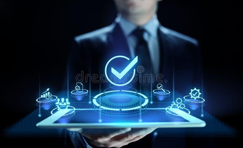 Normalizaci?n del control de la garant?a de calidad de los est?ndares y concepto de la certificaci?n fotos de archivo libres de regalías