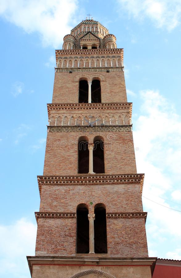 Norman bell tower of the Cathedral of Gaeta royalty free stock image