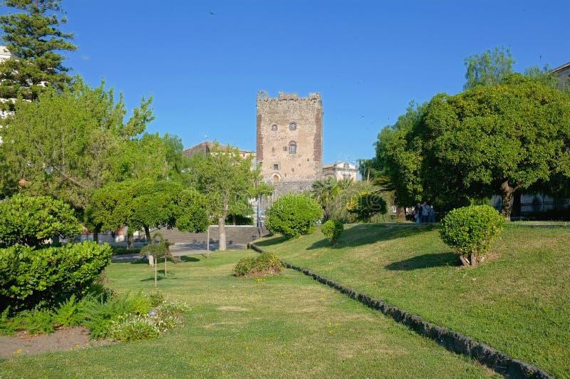 Norman Castle In Adrano Sicilien arkivfoto