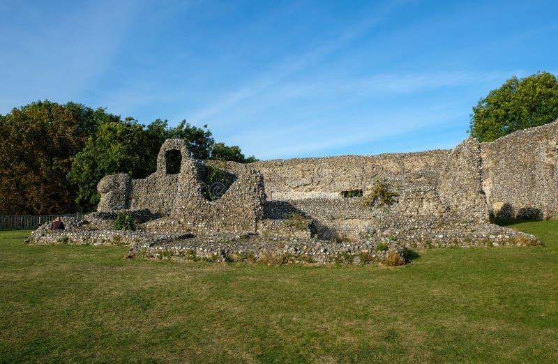 Norman Castle ruis på Eynesford, Kent arkivfoto