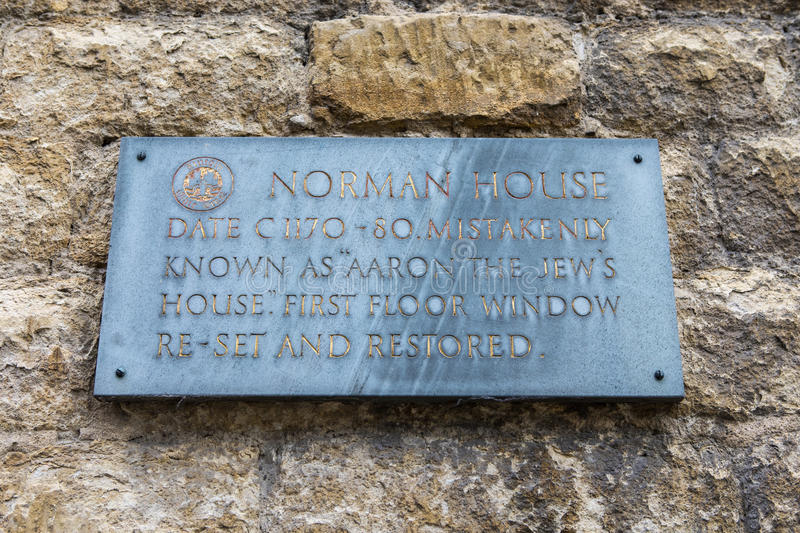 Norman House Plaque i Lincoln arkivbilder