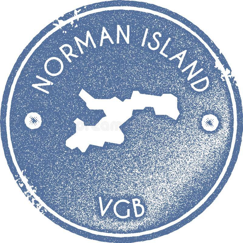 Norman Island-kaart uitstekende zegel stock illustratie