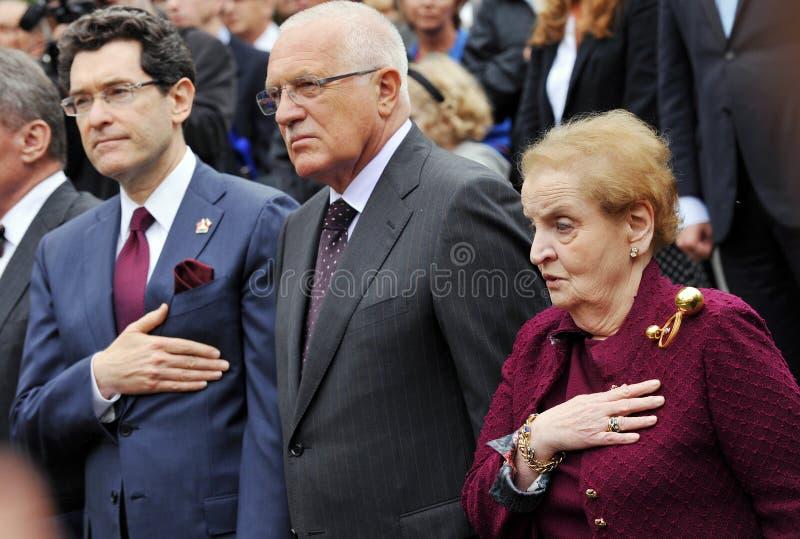 Norman L. Eisen, Václav Klaus, Madeleine Albright. From left American ambassador in Czech republic Norman L. Eisen, Czech president Václav Klaus and famous royalty free stock photo