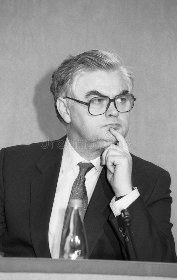 Norman Lamont. Chancellor of the Exchequer & Conservative party Member of Parliament for Kingston-upon-Thames, at a press conference in London on March 16 stock image