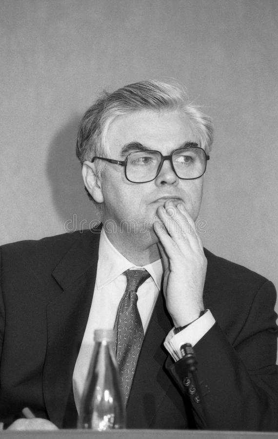 Norman Lamont. Chancellor of the Exchequer & Conservative party Member of Parliament for Kingston-upon-Thames, at a press conference in London on March 16 royalty free stock photos