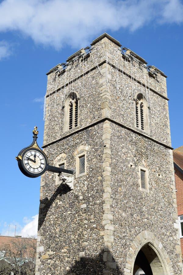 Norman Tower med den antika klockan royaltyfria bilder
