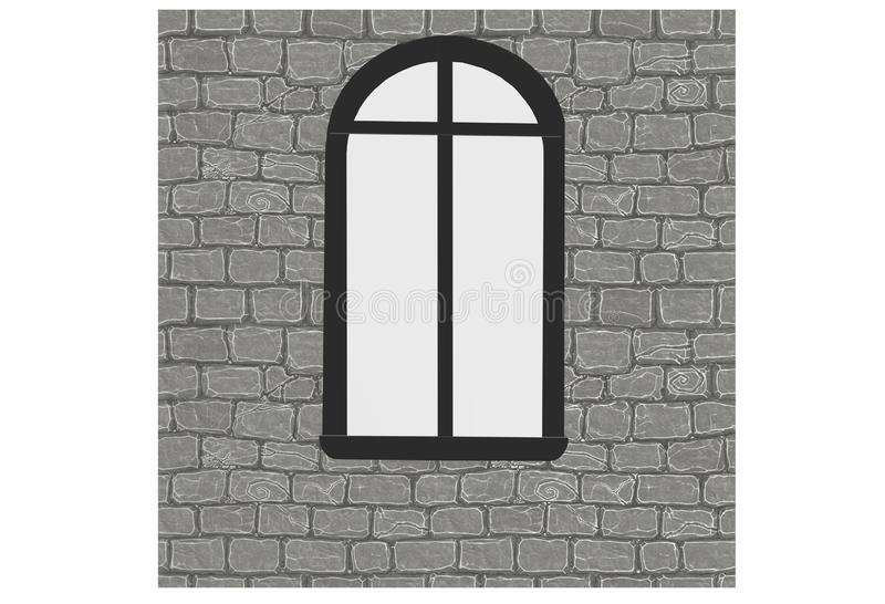 A Norman window installed on a light grey brick wall stock illustration