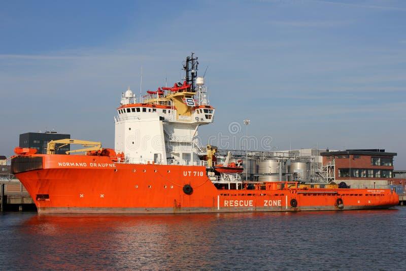 NORMAND DRAUPNE door Solstad Offshore in werking die wordt gesteld die stock fotografie