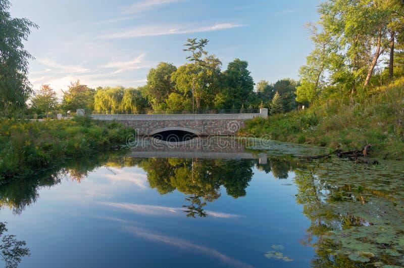 Normandale Lake Park and Bridge royalty free stock photo