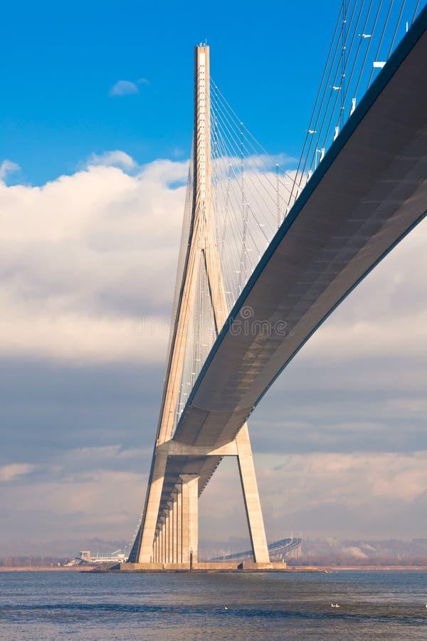 Normandie-Brückenansicht (Pont de Normandie, Frankreich) lizenzfreie stockbilder