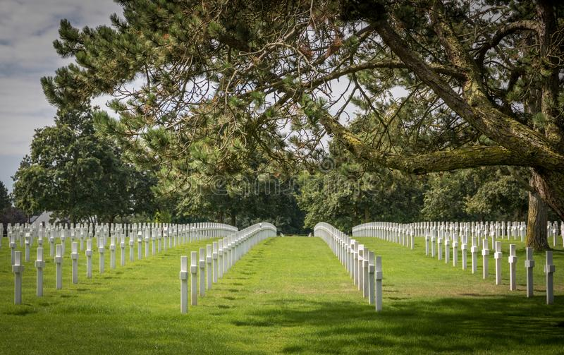 Normandie den amerikanska kyrkogården på den Omaha stranden, Normandie, Frankrike arkivfoto