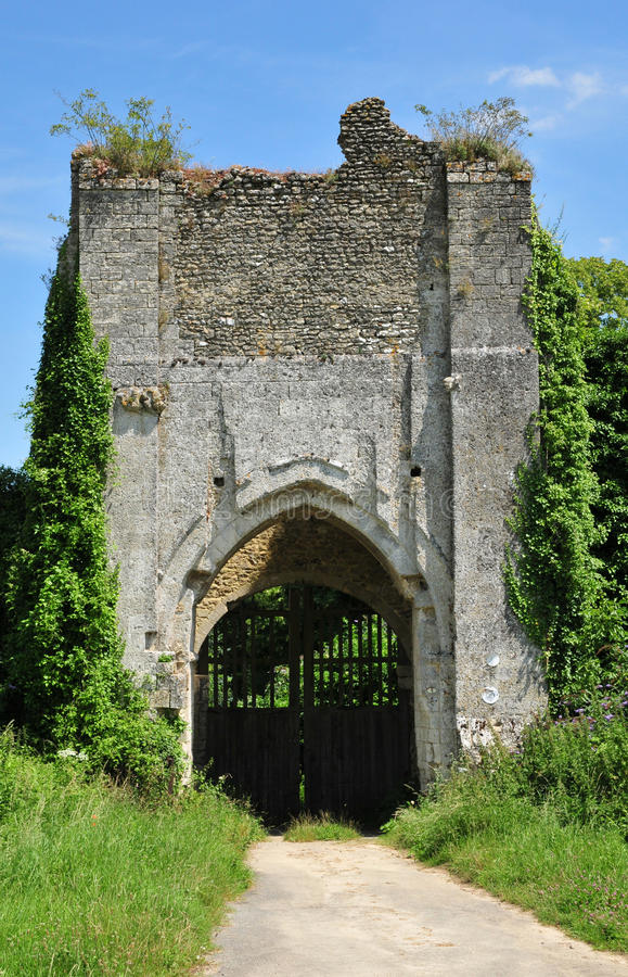 Normandie den pittoreska slotten av Chateausurepte royaltyfri fotografi
