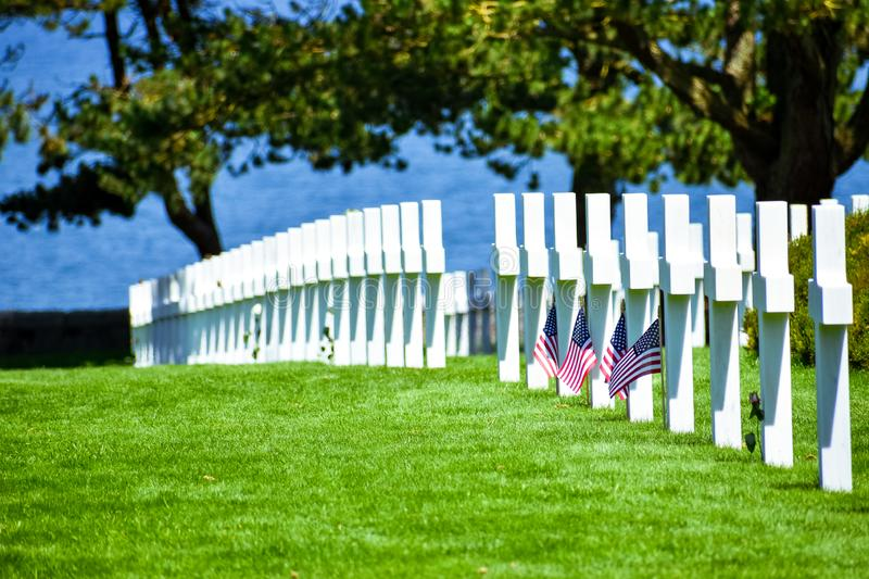 Normandy American Cemetery and Memorial, Colleville-sur-Mer, Normandy, France royalty free stock image