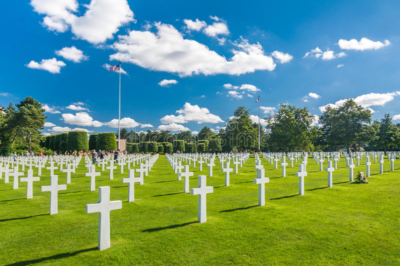 Normandy American Cemetery and Memorial. Colleville-sur-Mer, France - September 9, 2016: The Normandy American Cemetery and Memorial is a World War II cemetery royalty free stock photography