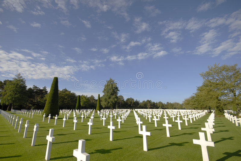 Normandy American Cemetery, Omaha Beach. White marble grave stones at the American Cemetery near Omaha Beach in Normandy, France stock photos