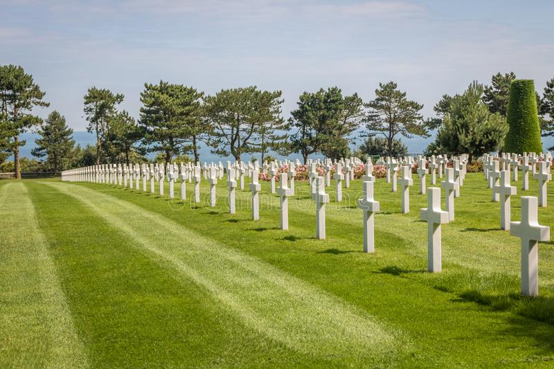 The Normandy American Cemetery at Omaha beach, Normandy, France. That honors American troops, who died during the invasion of Europe in 1944 royalty free stock image