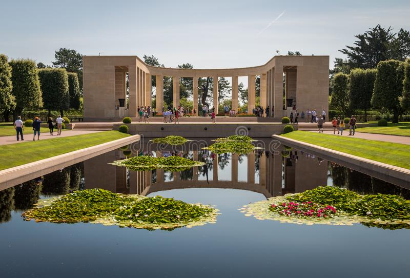 The Normandy American cemetery at Omaha beach, Normandy, France. That honors American troops, who died during the invasion of Europe in 1944 royalty free stock photography