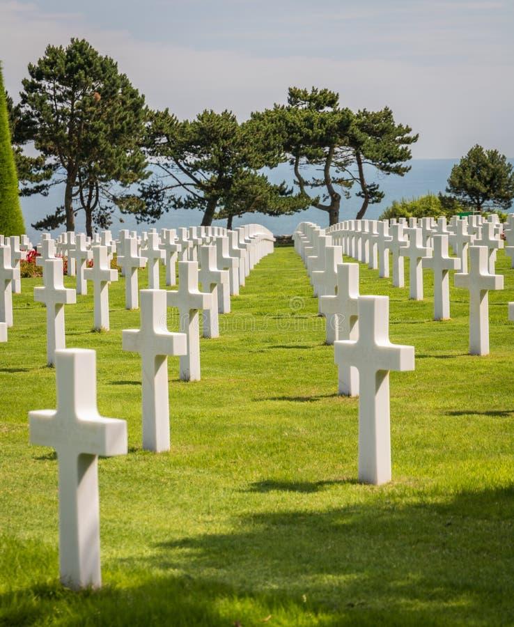 Normandy Amerykański cmentarz przy Omaha plażą, Normandy, Francja fotografia royalty free