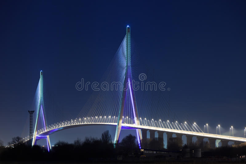 Download Normandy bridge at night stock photo. Image of havre - 17234524