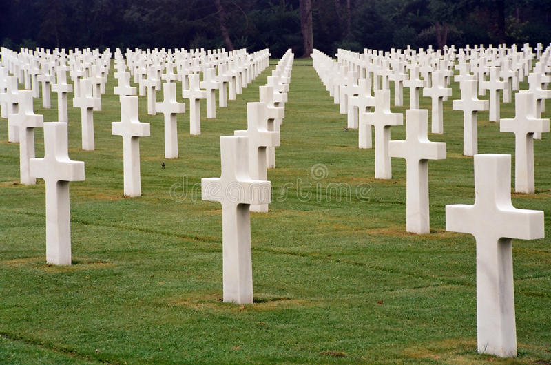 Normandy Cemetery. American War Cemetery in Normandy, France stock photography