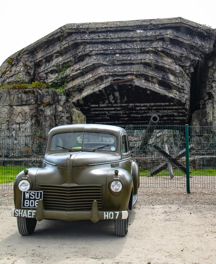 Normandy, France; 4 June 2014: Normandy, France; 4 June 2014: Old U.S. Army vehicle during World War II on display in front of the. Azeville battery us wwii stock photography