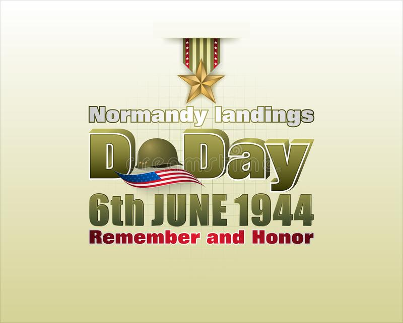 Normandy landings, American D Day, celebration vector illustration