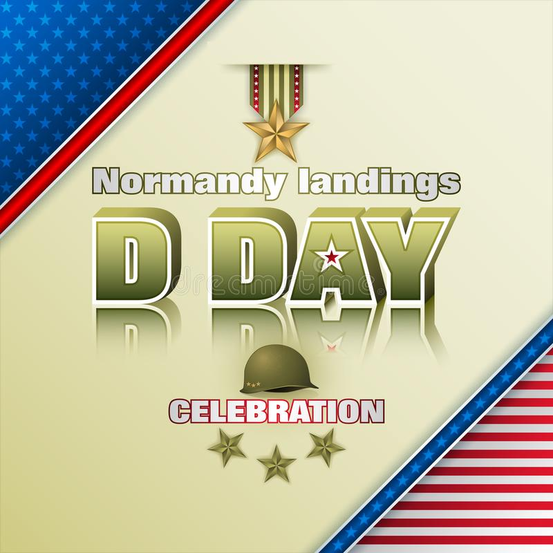 Normandy landings, U.S Armed forces, D Day celebration stock illustration