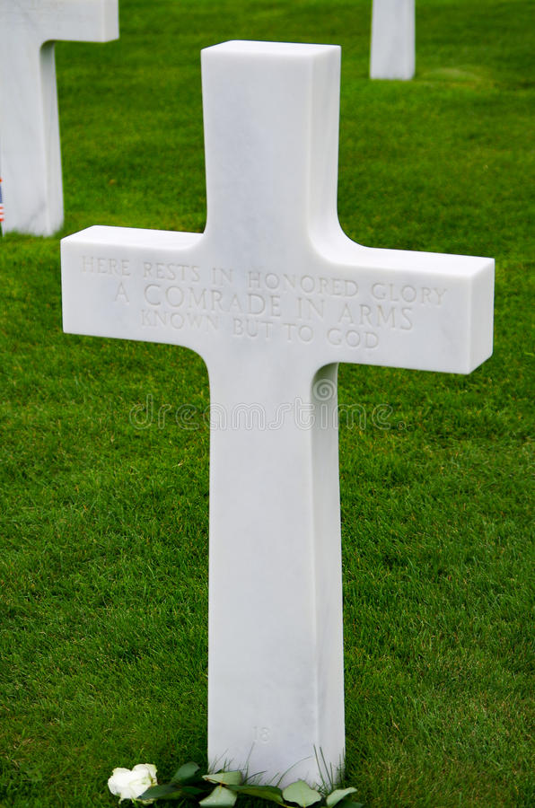 Normandy Unknown Soldier Grave Marker. Grave marker of unknown soldier in the American Cemetary in Normandy, France stock photo