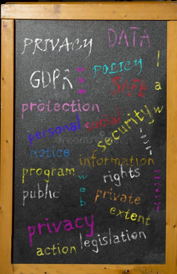 Norme sulla privacy in una nuvola di parola scritta su una lavagna fotografia stock